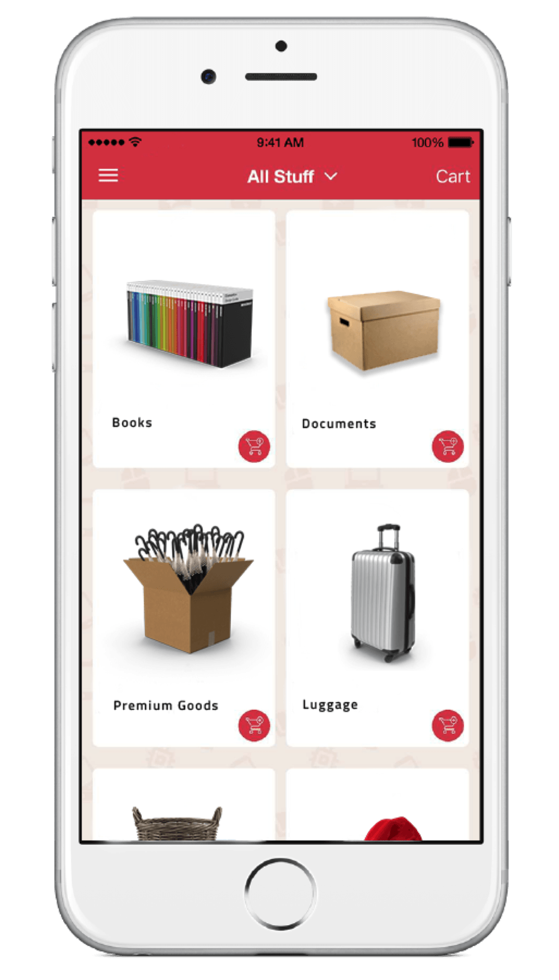 BEAM Space mobile app with itemised inventory